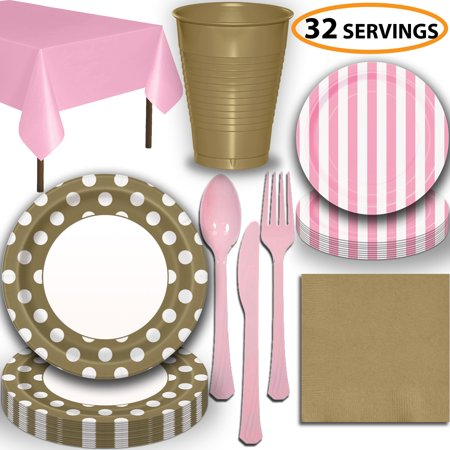 Disposable Tableware, 32 Sets - Gold and Lovely Pink - Dotted Dinner Plates, Striped Dessert Plates, Cups, Lunch Napkins, Cutlery, and Tablecloths:  Party Supplies Set