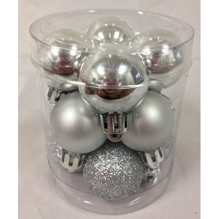 Silver Shiny Matte Glitter Shatterproof Mini Balls Christmas Ornament Set of 12