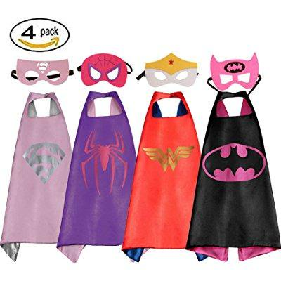 mizzuco comics cartoon dress up costume satin cape with felt mask 4pcs