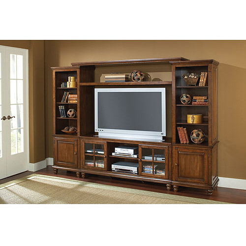 "Hillsdale Furniture Grand Bay Entertainment Center with Bridge for TVs up to 68"", Pine"