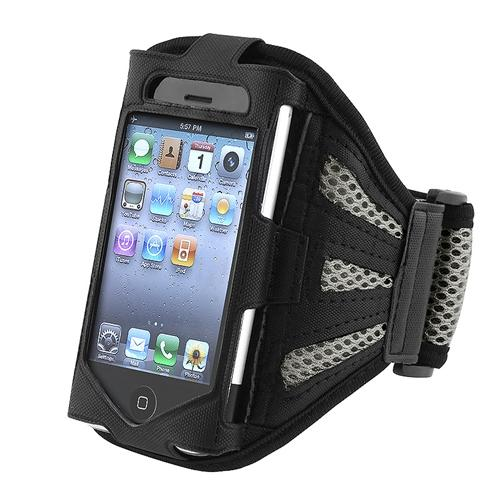 Insten Sports Workout Running Jogging Gym Armband Case For Apple iPhone 4 4S 3GS / iPod touch 4th 3rd Gen Black/Silver