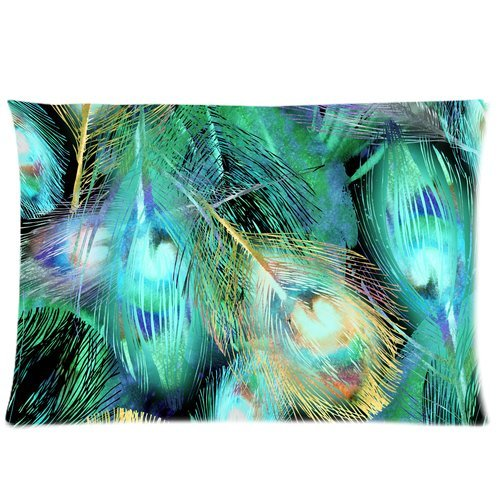 ZKGK Green Peacock Feather Pillowcase Standard Size 20 x 30 Inches for Couch Bed,Beautiful Peacock Feather Seamless Pattern Pillow Cases Cover Set Pet Shams Decorative