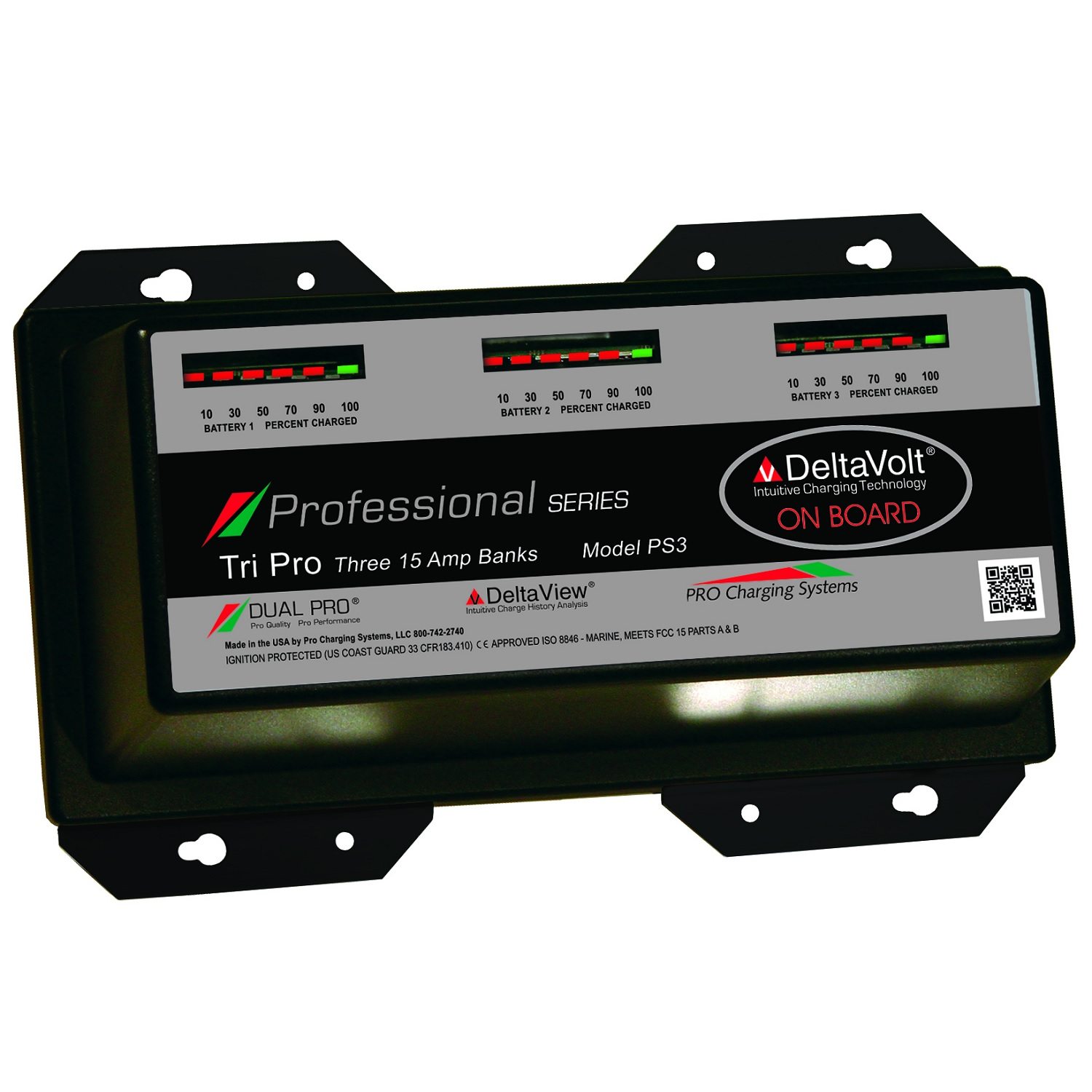 Dual Pro Professional Series 3 Bank Charger 15 AMP/Bank PS3