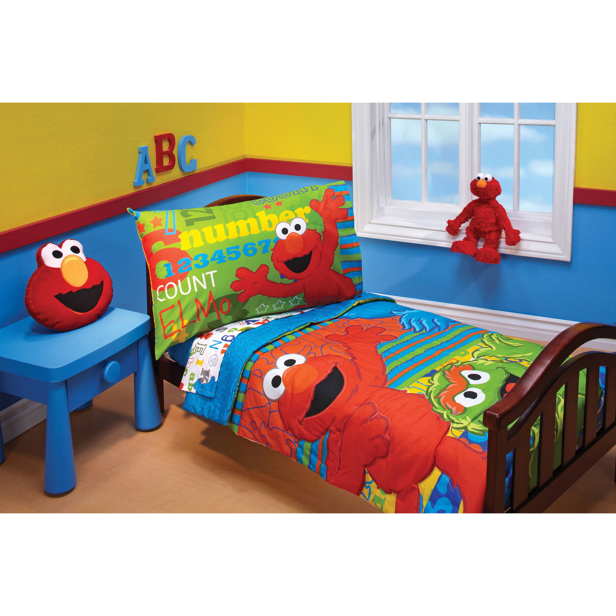 Merveilleux Sesame Street ABC123 4 Piece Toddler Bedding Set   Walmart.com