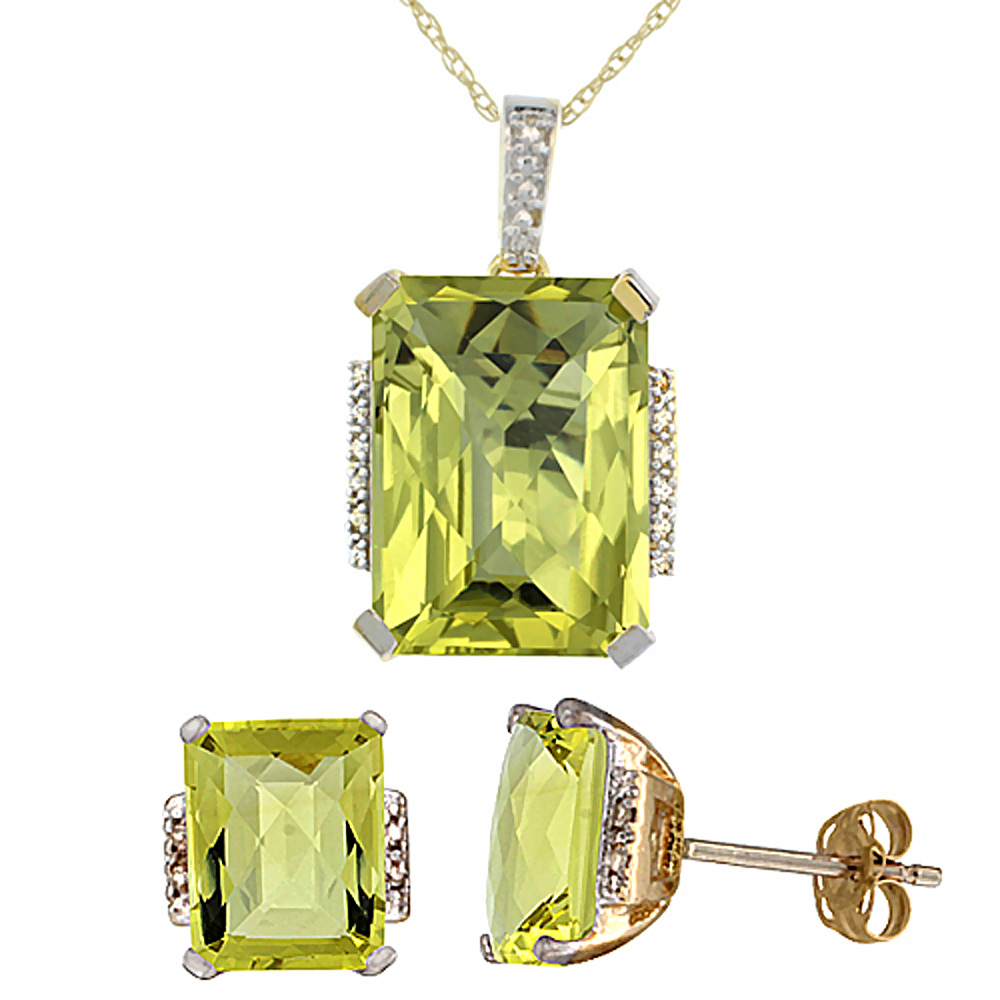10K Yellow Gold Natural Octagon Lemon Quartz Earrings & Pendant Set Diamond Accents by WorldJewels