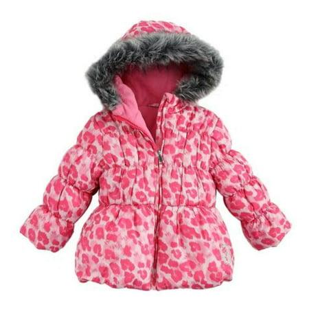 Pistachio Girls Pink Leopard Print Winter Coat Fur Trim Ski Jacket - Girls Leopard Coat