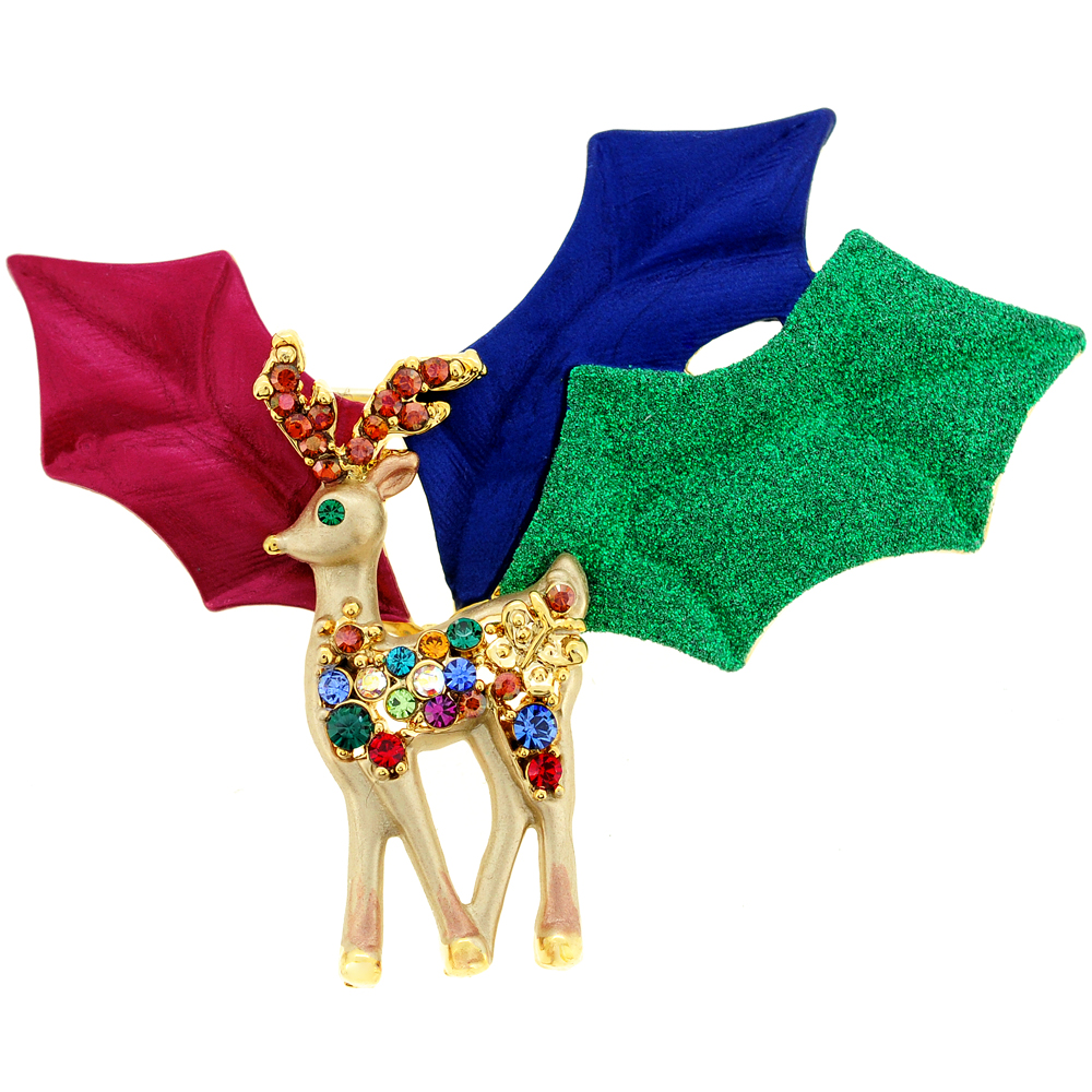 Multicolor Christmas Reindeer Swarovski Crystal Pin Brooch by