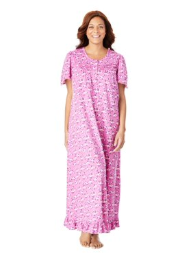 Dreams & Co. Plus Size Long Floral Print Cotton Gown