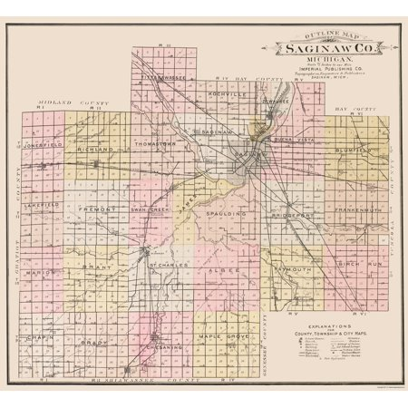 Old County Map   Saginaw Michigan   Imperial 1896   23 X 25 00