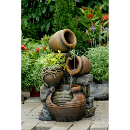 Multi Pots Outdoor Water Fountain with Flower Pot Cast Stone Outdoor Water Fountain