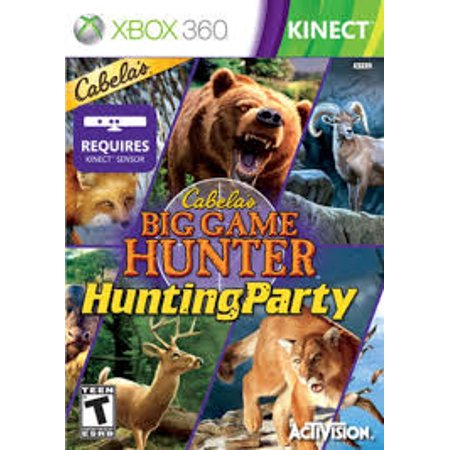 Cabelas Big Game Hunter Hunting Party- Xbox 360 (Refurbished) Pre-owned video game in very good condition.  Comes with case with original artwork and game disc.  Case may have some wear as it is a used item.  Game disc may have been refurbished.  Game has been tested to ensure it works.
