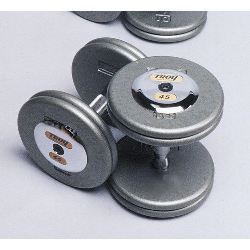 Troy Barbell 47.5 lbs Pro-Style Cast Dumbbells in Gray (Set of 2)