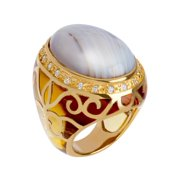 Agate Noble Ring in 14kt Gold-Plated Sterling Silver