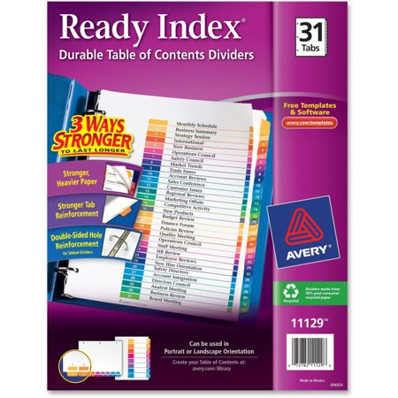 Avery Ready Index Customizable Table of Contents Classic Multicolor Dividers - 31 x Divider(s) - Printed Tab(s) - Digit - 1-31 - 31 Tab(s)/Set - 8.5