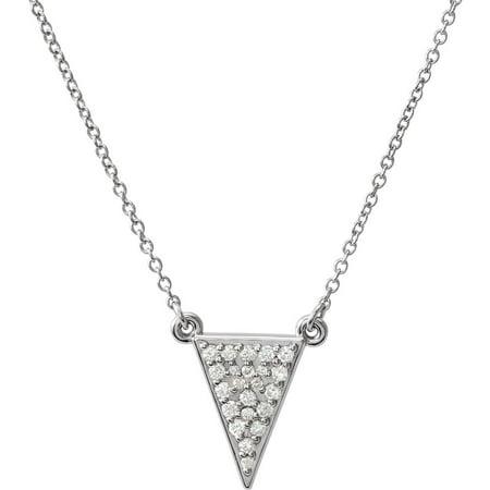 Diamond Triangle Necklace - 14k White Gold Polished 0.2 Dwt Diamond Triangle Necklace