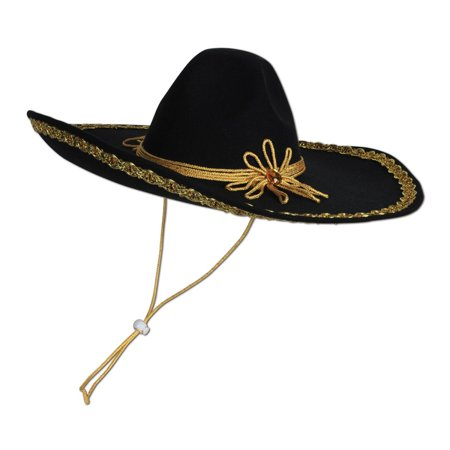 Club Pack of 6 Black with Gold Trim Mexican Fiesta Felt Sombrero Hats - One Size - Mini Sombrero Hats