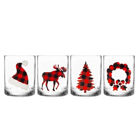 * Clearance * Holiday Plaid DOF, Set of 4 ()