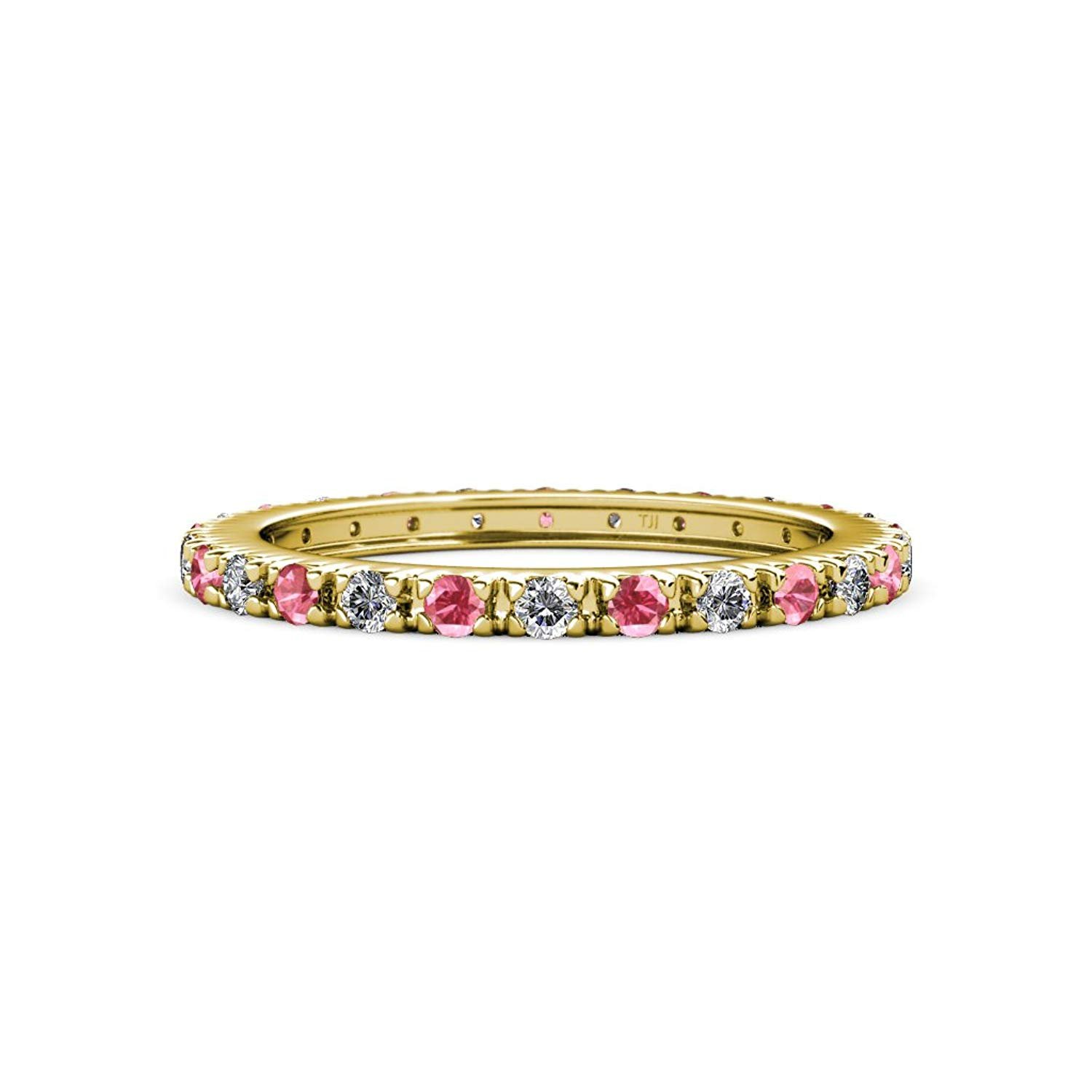 Pink Tourmaline and Diamond French Set Eternity Band 0.60 ct tw to 0.73 ct tw in 14K Rose Gold.size 5.0 by TriJewels