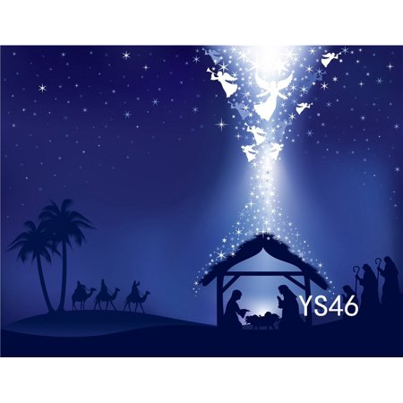 Christmas Scene Backdrop (GreenDecor Polyster 7x5ft Christmas Photography Backdrops Christmas Manger Scene Nativity Story Photo Studio Background)