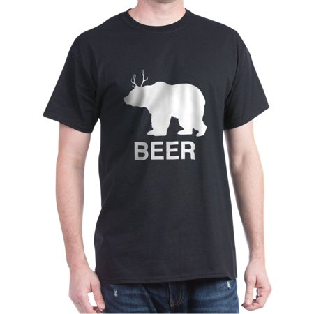 Beer. Bear With Deer Antlers T-Shirt - 100% Cotton T-Shirt