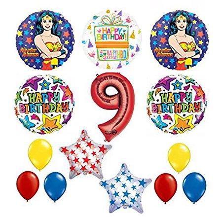 Wonder Woman 14 pc Superhero 9th Birthday Party Supplies and Balloon - Wonder Woman Birthday Supplies