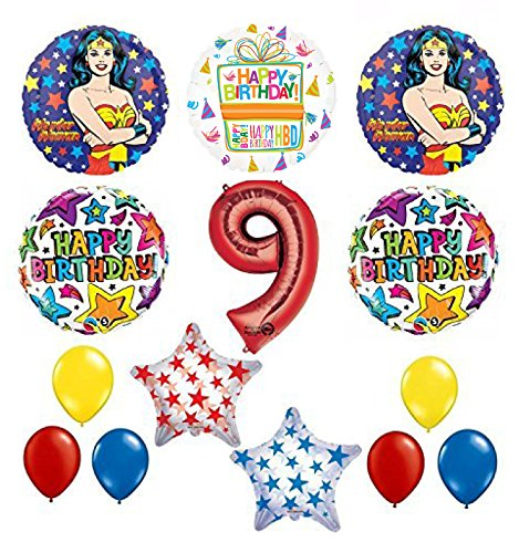 Wonder Woman 14 pc Superhero 9th Birthday Party Supplies and Balloon Decorations