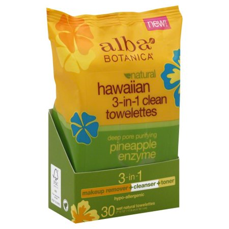 Alba Botanica Hawaiian 3-In-1 Clean Towelettes Deep Pore Purifying Pineapple Enzyme - 30 CT