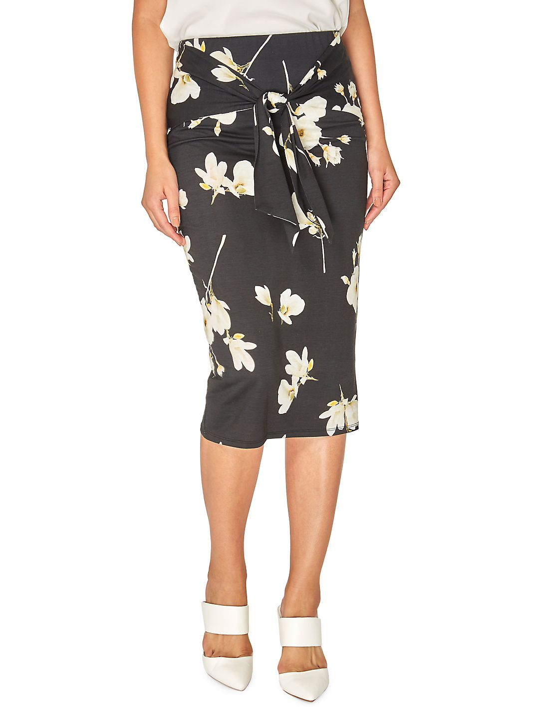 Floral Tie-Front Pencil Skirt