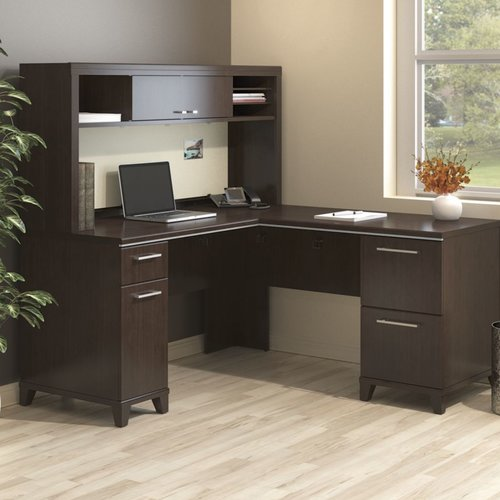 Bush Business Furniture Enterprise Corner 2 Piece L-Shaped Desk Office Suite