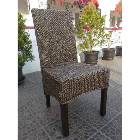 Lambada Hyacinth Spiral Design Dining Chair with Mahogany Hardwood Frame - Salak Brown ()