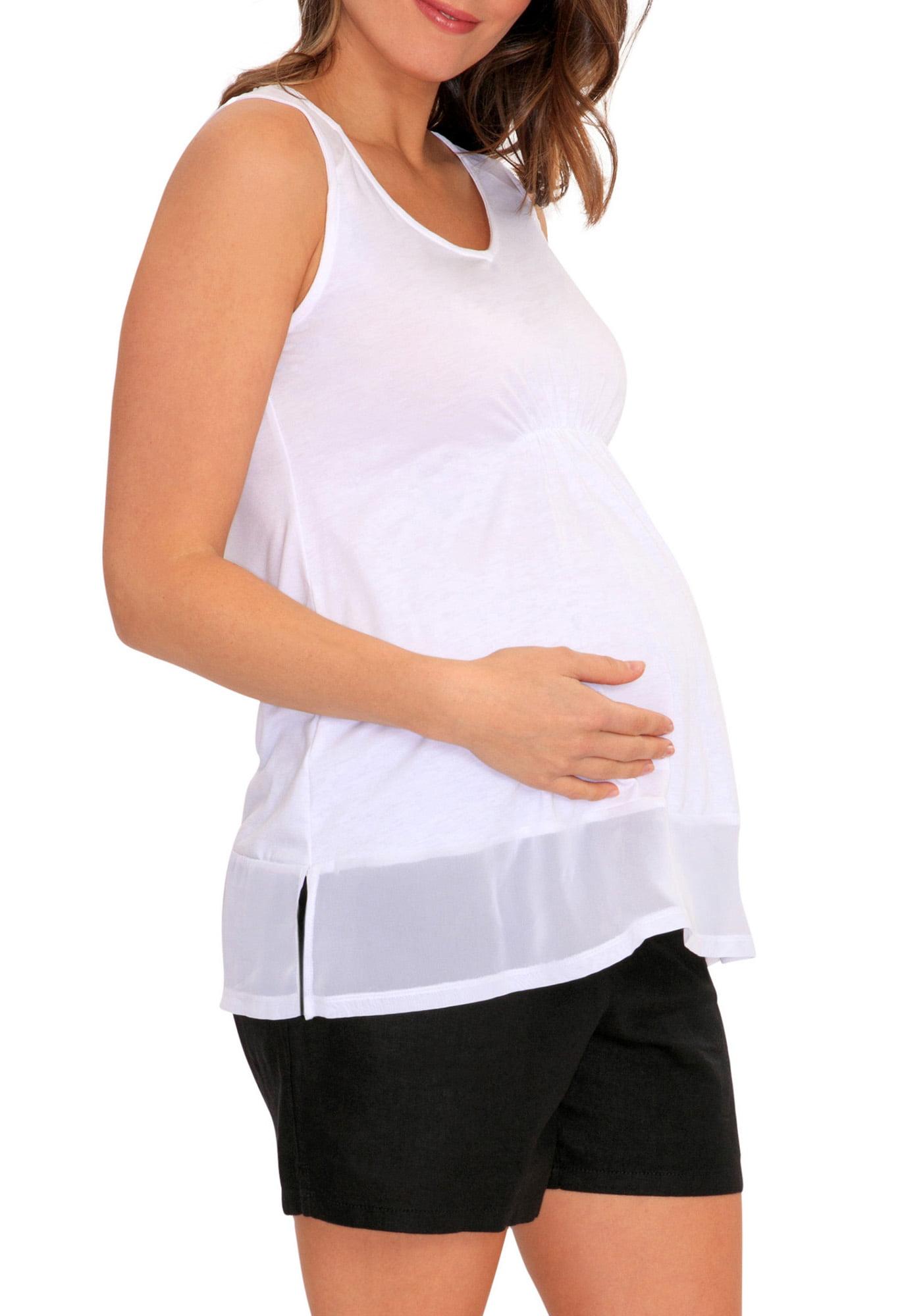 Maternity Chiffon Panel Tank Top Blouse