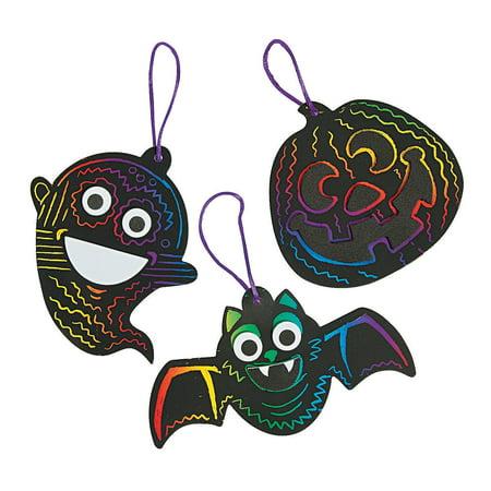Fun Express - Halloween Magic Scratch Ornament CK-12 for Halloween - Craft Kits - Ornament Craft Kits - Foam - Halloween - 12 - Fun Halloween Crafts