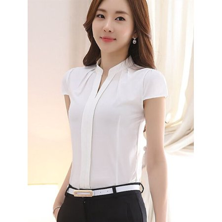 ZEFINE Women's Temperament Collar Pleated Polo Professional Short Sleeve Shirt Tops