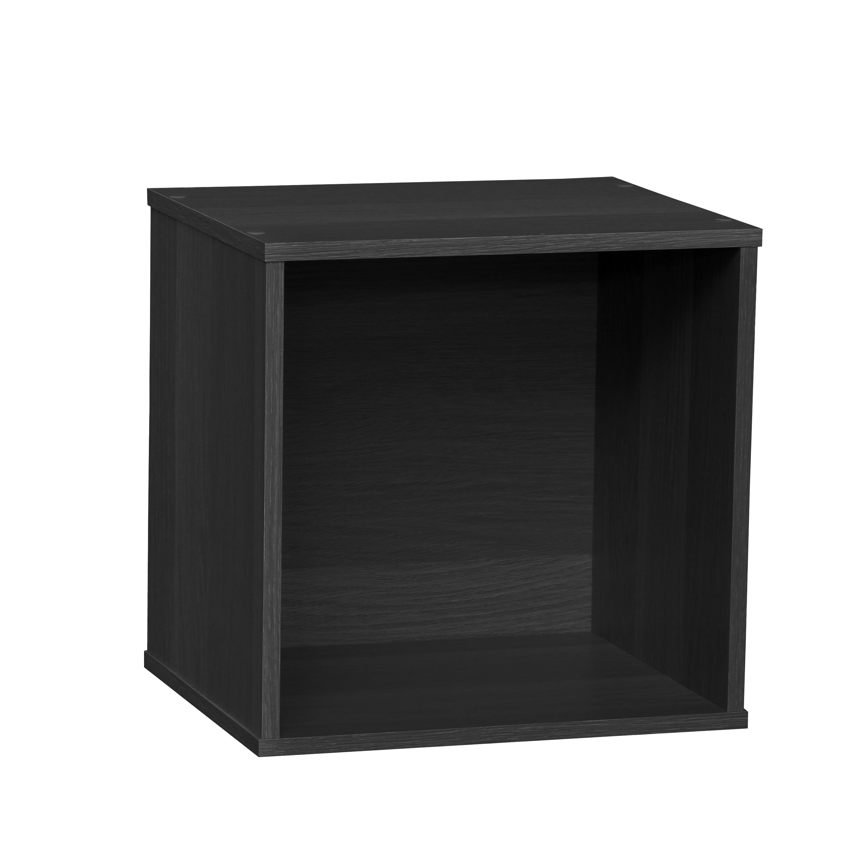IRIS USA BAKU Modular Wooden Cube Storage Box, Black ...