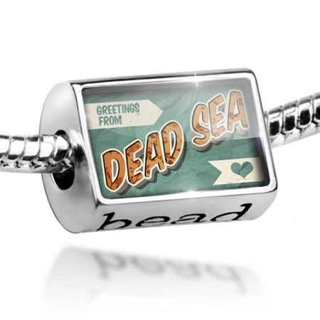 Bead Greetings from Dead Sea, Vintage Postcard Charm Fits All European (Dead Beads)