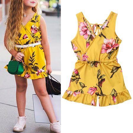 9cce6309aa109 Summer Toddler Baby Kids Girls Sleeveless V-Neck Floral Romper Bodysuit  Jumpsuit Outfits Clothes