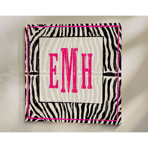 "Personalized Zebra Print Canvas, 11"" x 11"""