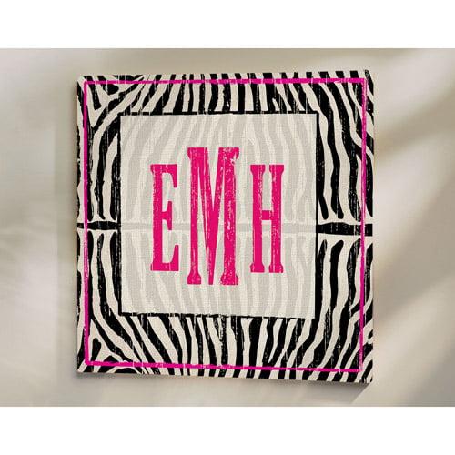 """Personalized Zebra Print Canvas, 11"""" x 11"""""""