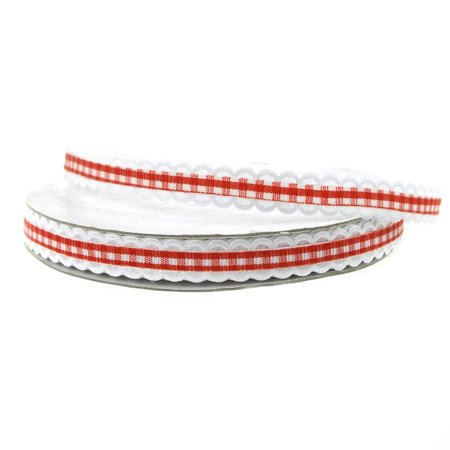 3/8' Gingham Ribbon (Gingham Picot-edge Polyester Ribbon, 3/8-inch, 25-yard, Red)