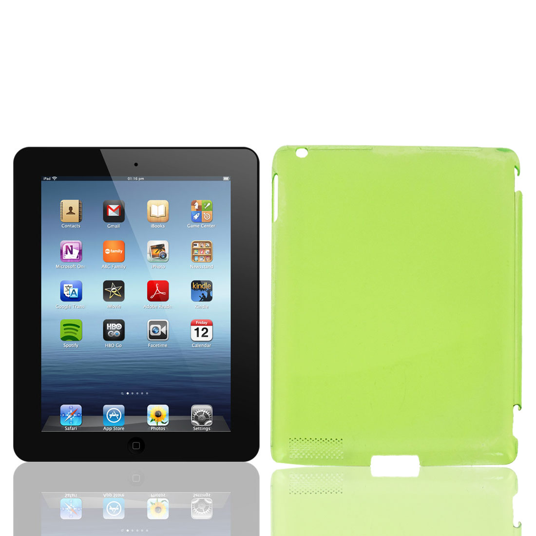 Unique Bargains Clear Green Plastic Back Cover Guard for Apple iPad 2 2nd Generation