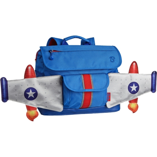 Bixbee Rocketflyer Kids Backpack Small - Blue - Patented Horizontal Design with Ergonomic Attributes - Plenty of Space - Comfortable On Kid Shoulders with Cushy Padding - Interior Organizer Pockets -
