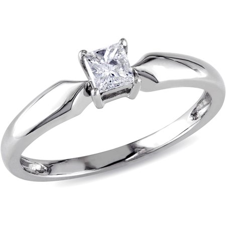 Miabella 1/4 Carat T.W. Princess-Cut Diamond 10kt White Gold Solitaire Ring
