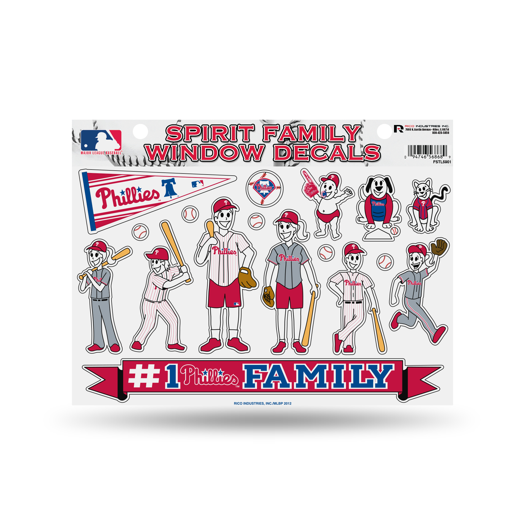 Philadelphia Phillies Official MLB 11 inch x 11 inch  Large Family Car Decal Sheet by Rico