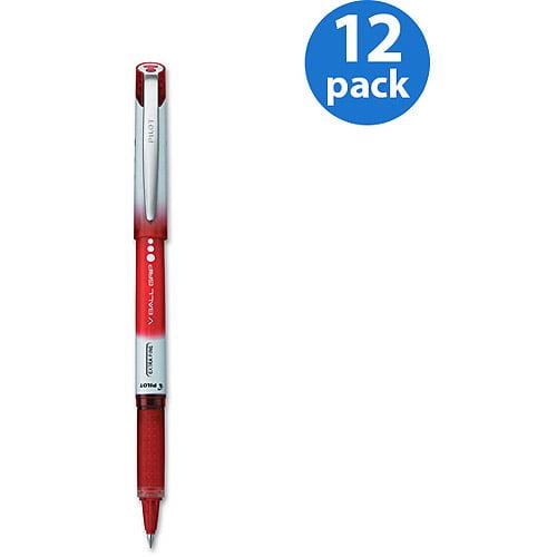 Pilot Vball Grip Roller Ball Stick Pens, Red, 12-Pack