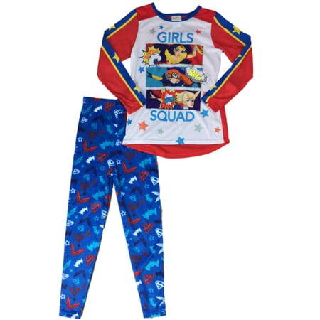 Girls DC Super Hero Girl Squad Pajamas Wondergirl Supergirl Batgirl Sleep Set