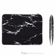 "TOP CASE - Marble Pattern Zipper Sleeve Bag Case for All Laptop 11"" 11-inch Macbook Air / Ultrabook / Chromebook with TopCase Mouse Pad - Black"