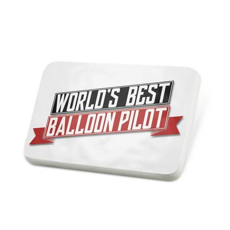 Porcelein Pin Worlds Best Balloon Pilot Lapel Badge –