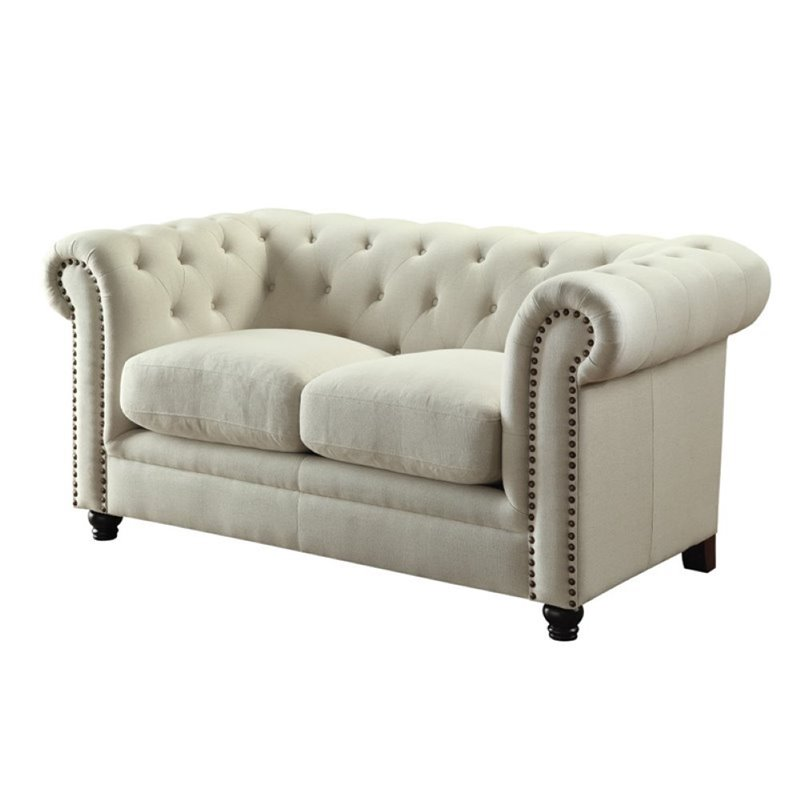 Bowery Hill Fabric Button Tufted Loveseat in Cream