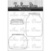 "Two Paper Divas Clear Stamps, 6"" x 4.5"", Mason Jars"