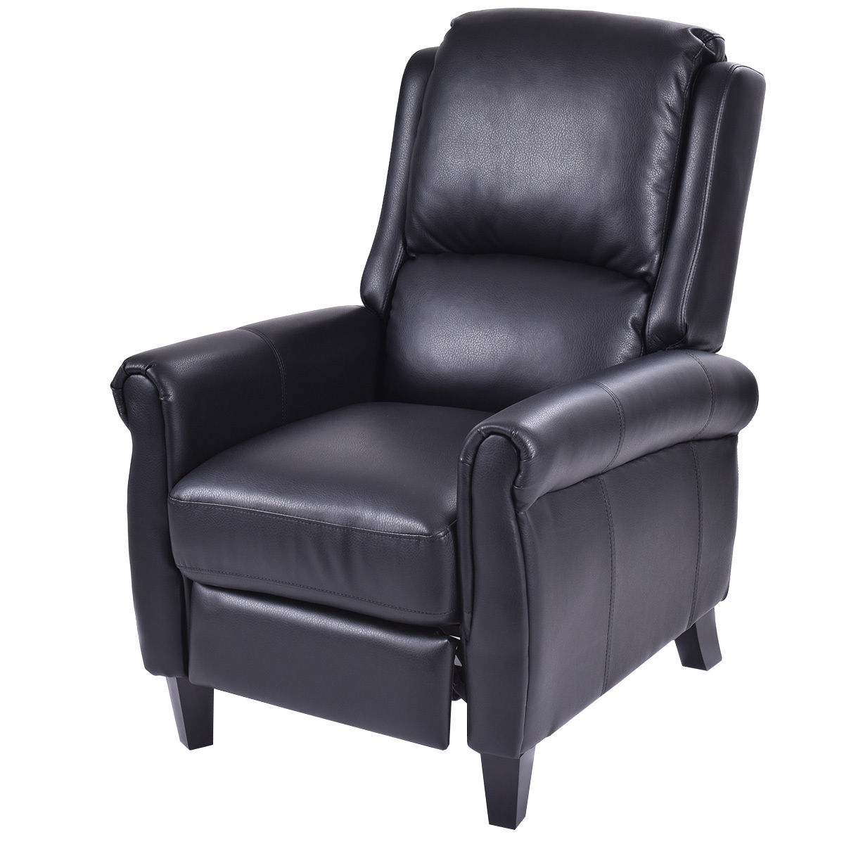 Costway Leather Recliner Accent Chair Push Back Living Room Home Furniture w  Leg Rests by Costway